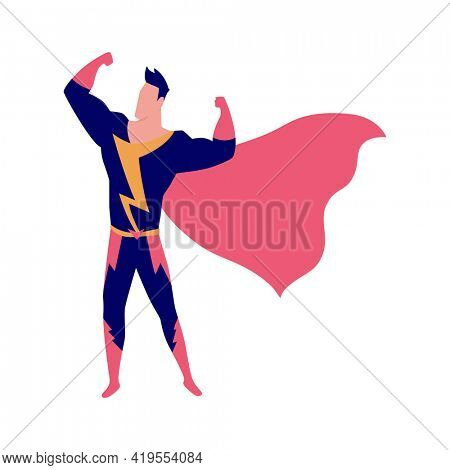 Character male superhero stand, cinema concept. Scenery for movie shooting and production process. Movie making, cartoon characters in stages of film production shooting in studio