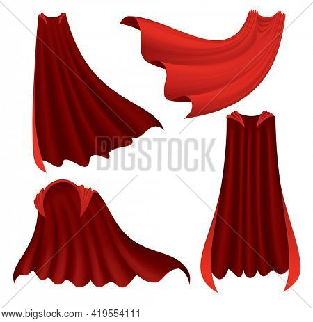 Superhero red cape. Scarlet fabric silk cloak in different position, front back and side view. Carnival or masquerade dress, 3d realistic costume design. Silk flying capes