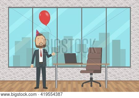 Boss Celebrate His Birthday Alone In Office. Vector Illustration.