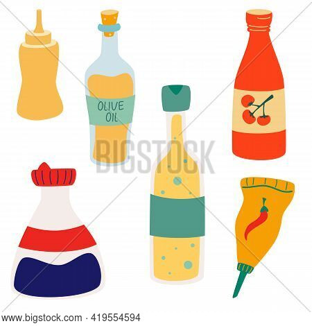 Vector Set Of Sauces. Sauce Bottles. Different Sauces, Condiments And Dressings For Culinary Cooking