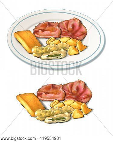 Some sliced roast beef with potatoes, fried zucchini and polenta. Original illustration on paper.