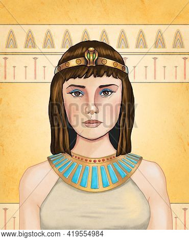 Cleopatra, egyptian queen. Digital illustration.