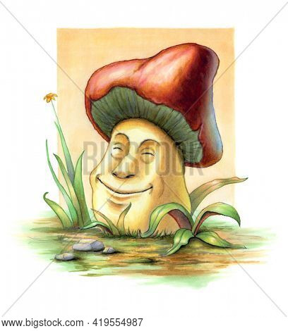 Smiling mushroom between some blades of grass. Original illustration on paper.