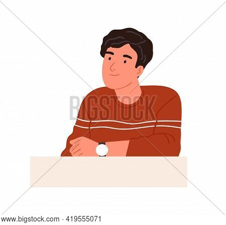 Happy Curious Person With Interested Face Looking At Smth, Sitting Behind Desk And Thinking. Smiling