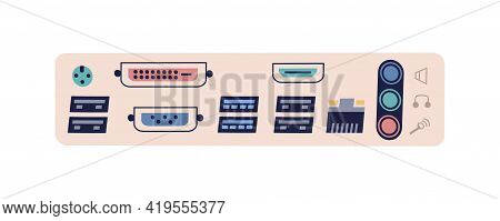 Computer Ports For Different Connector Types. Hardware Interface With Usb, Audio, Video, Ethernet, D