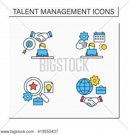 Talent Management Color Icons Set.time Off Management, Goal Agreement Employee, Talent Analytics, In