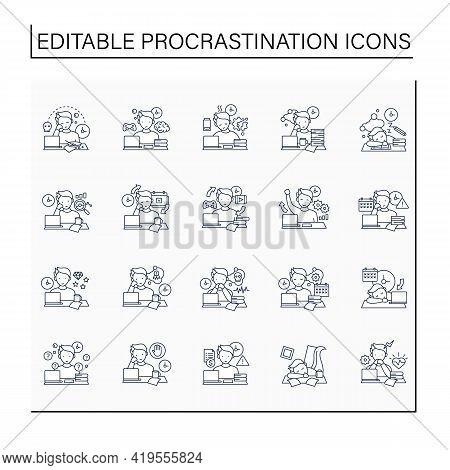 Procrastination Line Icons Set. Postpone Unpleasant Tasks For Later.delay. Lazy Person. Overwhelmed