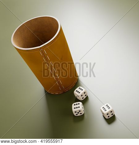 A leather cup and fhree dice showing six. 3D illustration
