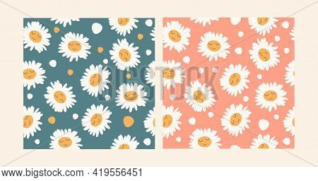 Set Of Two Seamless Patterns With Chamomile With Cute Faces. Various Hand Drawn Meadow Flowering Pla