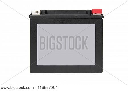 Front View Of Rechargeable Starter Lead-acid Battery For Motorcycle, Jetsky Or Snowmobile. Positive