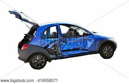 Crashed Blue Car With Opened Trunk, Isolated On A White Background. Damaged Blue Car After The Accid