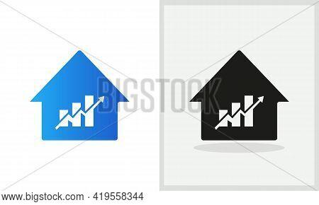 Financial House Logo Design. Home Logo With Financial Arrow Concept Vector. Financial Logo And Home