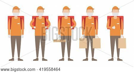 Set Of Couriers With Rucksacks. Food Delivery. Vector Illustration.