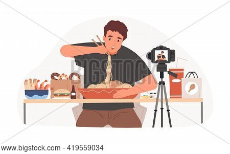 Blogger Recording Mukbang Video For Entertainment Vlog, Eating Asian Food In Front Of Camera. Vlogge