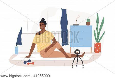 Fitness Blogger On Yoga Mat Recording Online Video Classes Of Sports Exercises. Black-skinned Vlogge