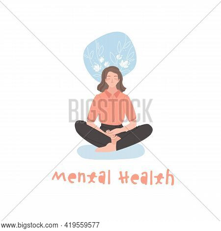 Young Woman Peacefully Sitting In Lotus Position On The Floor.