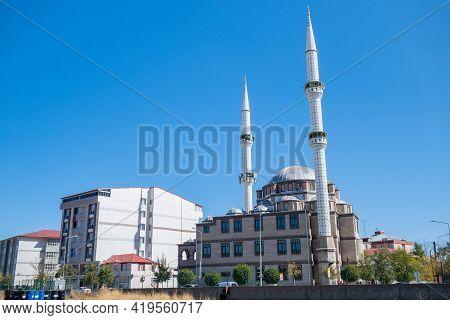 Panoramic View Onto Ehlibeyt Ichikli (ehlibeyt Işıklı) Mosque In Kars, Turkey. It's One Of Biggest R