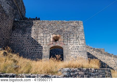 Remains Of Gate & Walls Inside Kars Castle (turkey). Entrance Leads To Watch House Or Military Barra