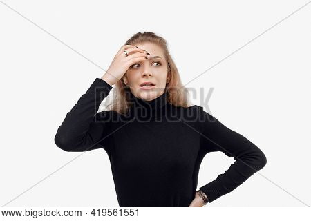 Nervous Young Woman Making Mistake, Look Upset, Touch Head, Forgot Or Remember, Being Guilty, Feelin