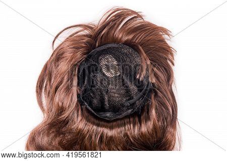 Female Chocolate Brown Wig Isolated On White Background. Golden Brown Human Hair Weaves, Extensions
