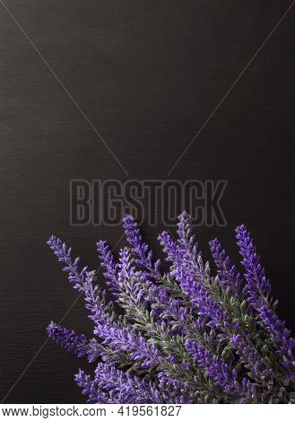 Bouquet Of Lavender . Lavender Flower Greeting Bouquet On Old Rustic Wooden Table. Flat Lay French P