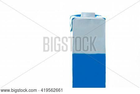Box Of Whole Milk On White Background Illuminated. Full Cream Milk Packaging Box. Commercial Packagi