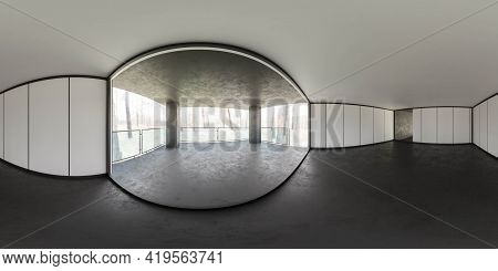 Full 360 Panorama Shot Of Modern Open Building Interior With Forest View 3d Render Illustration Hdri