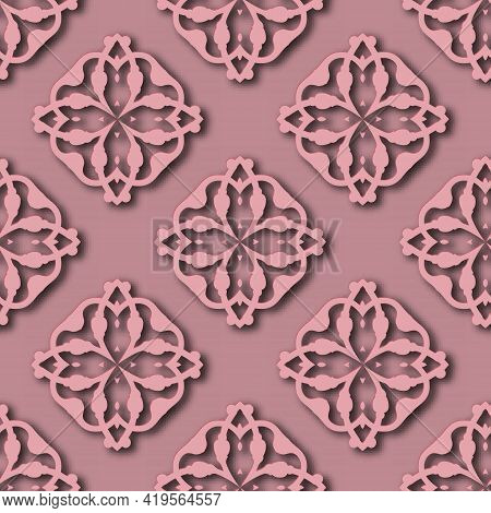 3d Floral Seamless Pattern. Arabesque Ornamental Pink Vector Background. Grunge Repeat Backdrop. Vin