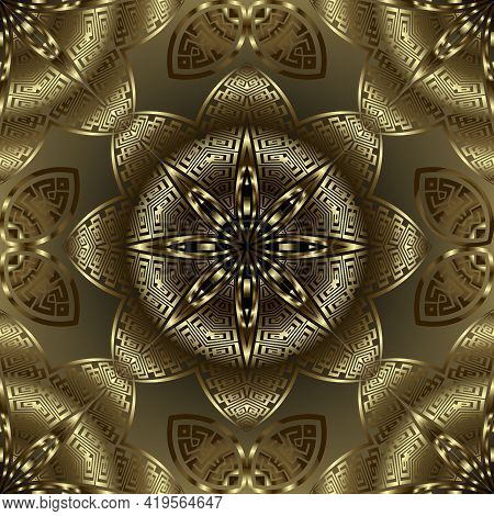 Luxury Gold 3d Seamless Pattern. Vector Glowing Golden Flowers Background. Greek Style Repeat Ornate
