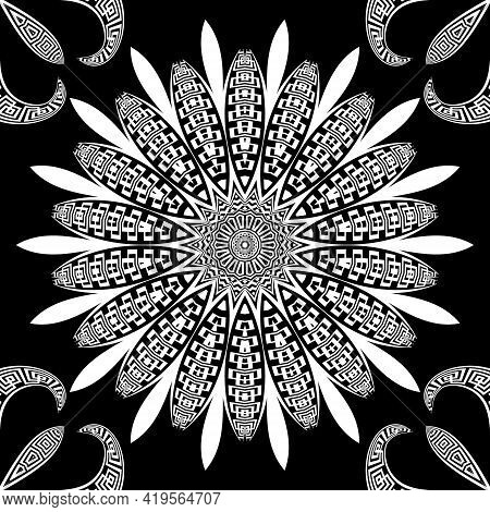 Black And White Floral Seamless Pattern. Vector Flowers Background. Greek Style Repeat Backdrop. Man