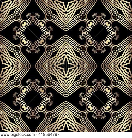 Floral Gold Greek Seamless Pattern. Vector Arabesque Background. Vintage Repeat Backdrop. Greek Orna