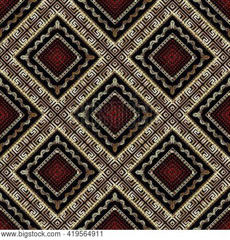 Textured Gold Geometric Seamless Pattern. Vector Ornamental Modern Background. Geek Style Tribal Eth
