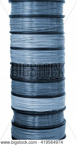 Filament Wire For 3d Printer Close-up. Reels Of Filament Wire For 3d Printer.