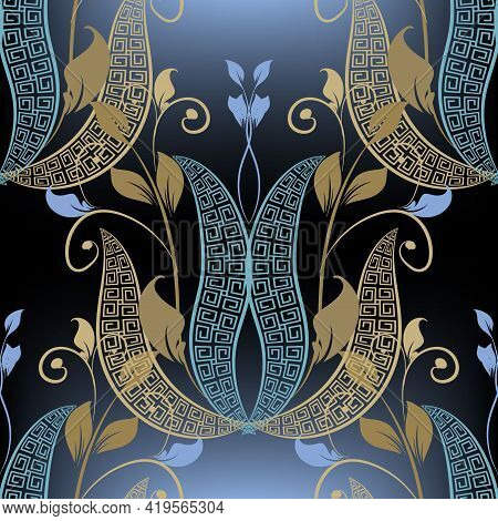 Modern Floral Seamless Pattern. Vector Ornamental Glowing Leafy Background. Greek Style Repeat Ornat