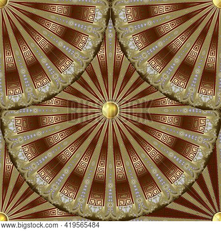 Gold Radial Mandalas 3d Seamless Pattern. Vector Luxury Background. Greek Style Repeat Ornate Backdr
