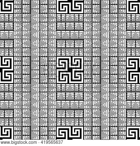 Geometric Lines Seamless Pattern. Greek Ethnic Style Black And White Background. Repeat Striped Trib