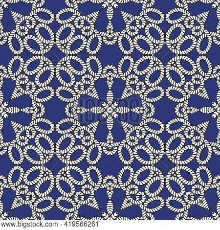 Ropes And Strings Seamless Pattern. Ethnic Ornamental Vector Background. Repeat Decorative Knitted O