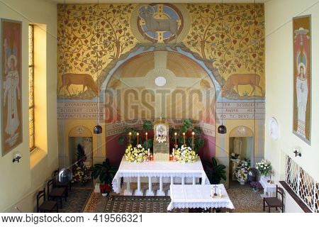 ZAGREB, CROATIA - NOVEMBER 26, 2014: Corpus Domini Church in Zagreb, Croatia