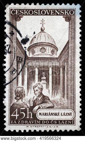 ZAGREB, CROATIA - SEPTEMBER 18, 2014: Stamp printed in Czechoslovakia shows Marianske Lazne spa town in the Karlovy Vary Region, circa 1956