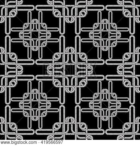 Ropes And Strings Seamless Pattern. Black And White Vector Background. Repeat Intricate Elegant Orna