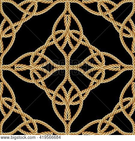 Ropes Seamless Pattern. Modern Ornamental Ornate Vector Background. Repeat Decorative Gold Strings O