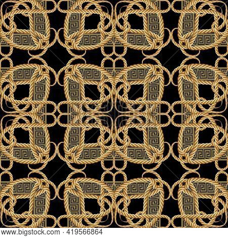 Ropes Seamless Pattern. Floral Ornamental Vector Greek Background. Repeat Decorative Gold Strings Or