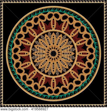 Round Mandala And Square Frame Seamless Pattern. Vector Ornamental Background. Greek Style Tribal Et