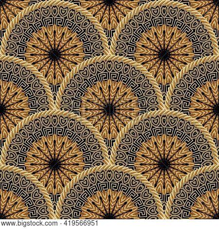 Tiled Round Mandalas Seamless Pattern. Vector Ornamental Surface Background. Greek Style Tribal Ethn
