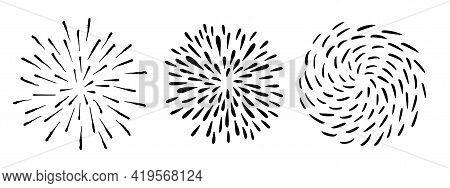 Vector Hand Drawn Sun Rays. Doodle Sunburst Design Elements. Vector Illustration