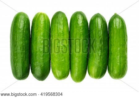 Snack Cucumbers In A Row, From Above. Fresh, Small, Young And Whole Cucumber Fruits, Lined Up Close