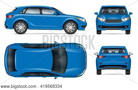 Compact Crossover Car Vector Mockup On White For Vehicle Branding, Corporate Identity. View From Sid