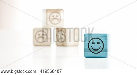 Smile Emoticon On Green Wood Cube In Front Of Sad Emoticon Wood Cubes 3d Render Illustration