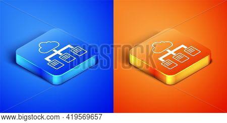 Isometric Online Working Icon Isolated On Blue And Orange Background. Freelancer Man Working On Lapt
