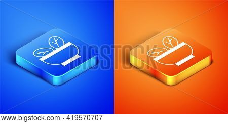 Isometric Salad In Bowl Icon Isolated On Blue And Orange Background. Fresh Vegetable Salad. Healthy